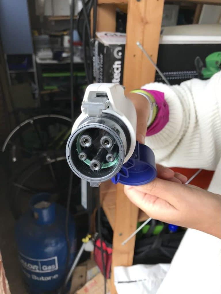 Up Close Electric Vehicle Charging Plug